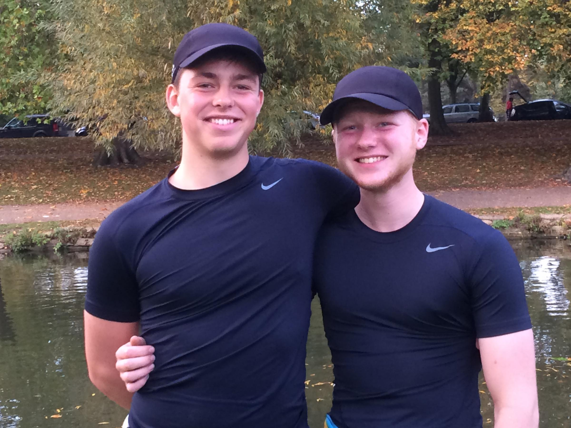 Falcon Rowing Club's Rory Pearce (left) and Joel Garden, who won the J16 double scull event at Bedford Autumn Fours