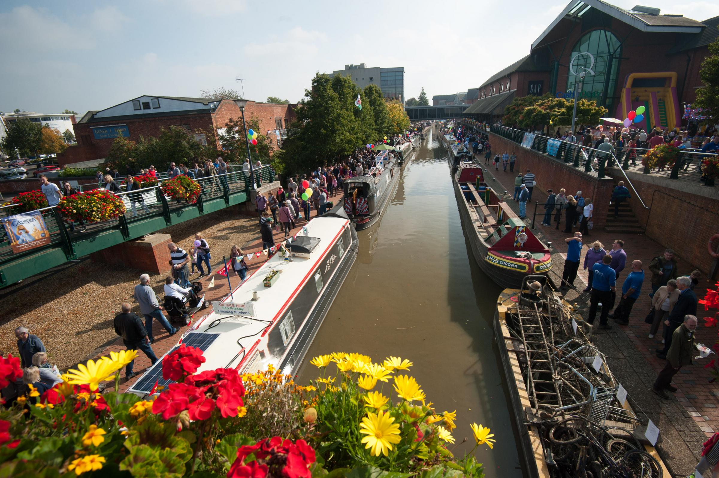 Narrowboats line the Oxford Canal during Banbury's annual Canal Day celebrations