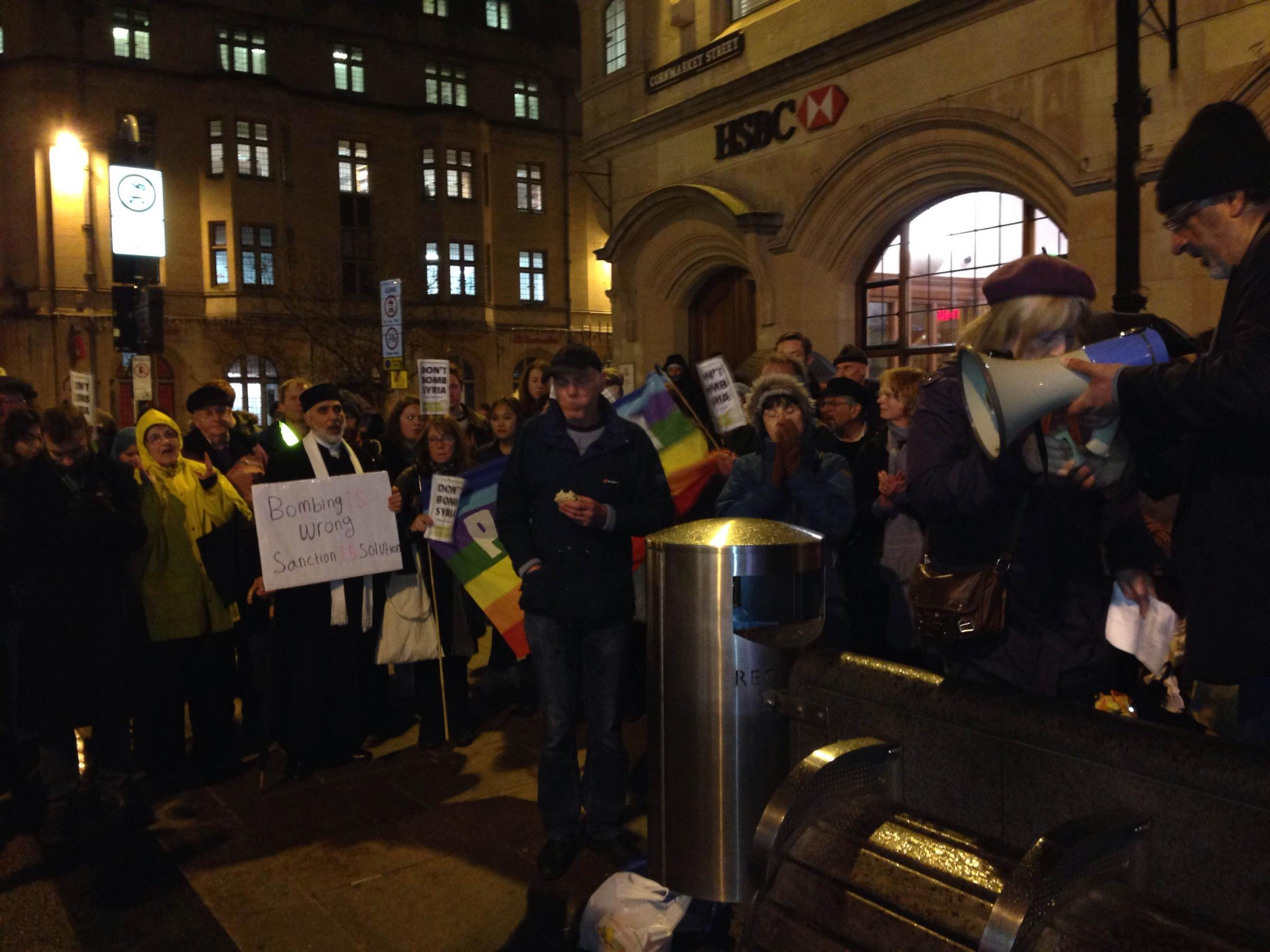 Protesters gather in Oxford for demonstration against bombing Syria