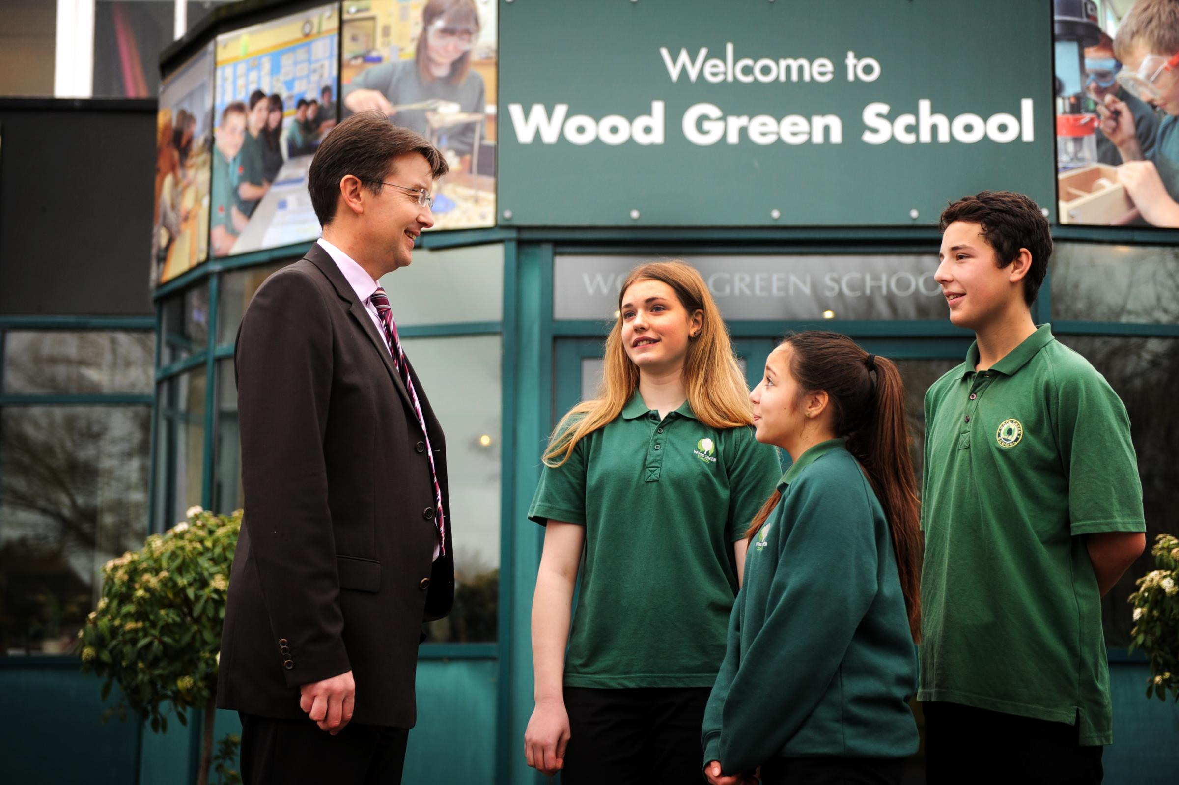 Headteacher Rob Shadbolt with students, from left, Grace Read, Lizzie Tylee and Jack Bunyan