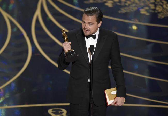 Leonardo DiCaprio wins best actor for The Revenant at the Oscars (Invision/AP).