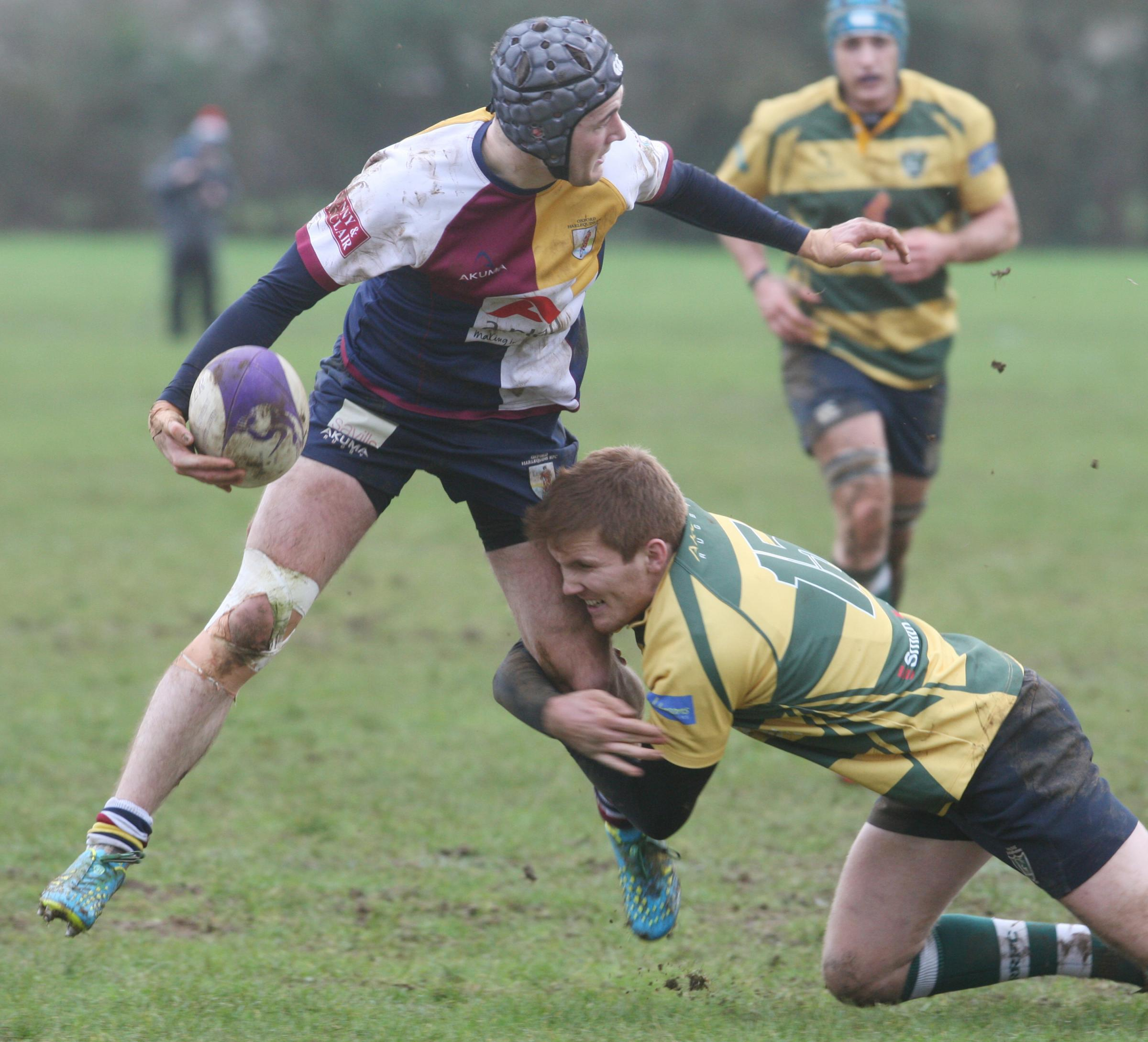 Ed Yeats, pictured in action for Oxford Harlequins earlier this season, scored Oxfordshire's opening try in their 27-21 defeat at Warwickshire on Saturday