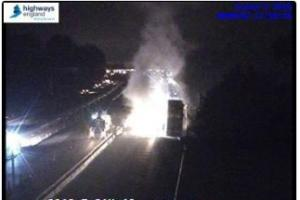 Lorry fire causes long delays on M6 Southbound