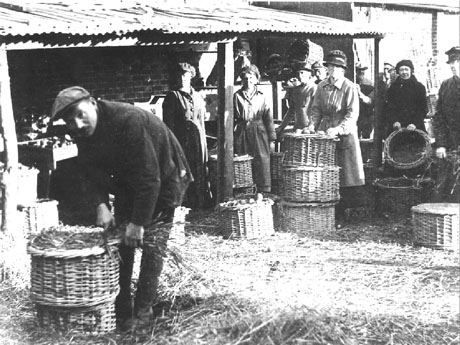 Apple pickers and their baskets