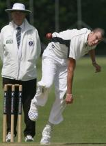 Oxford 2nd's Joe Endicott bowls in their defeat to Oxford Downs in Division 1