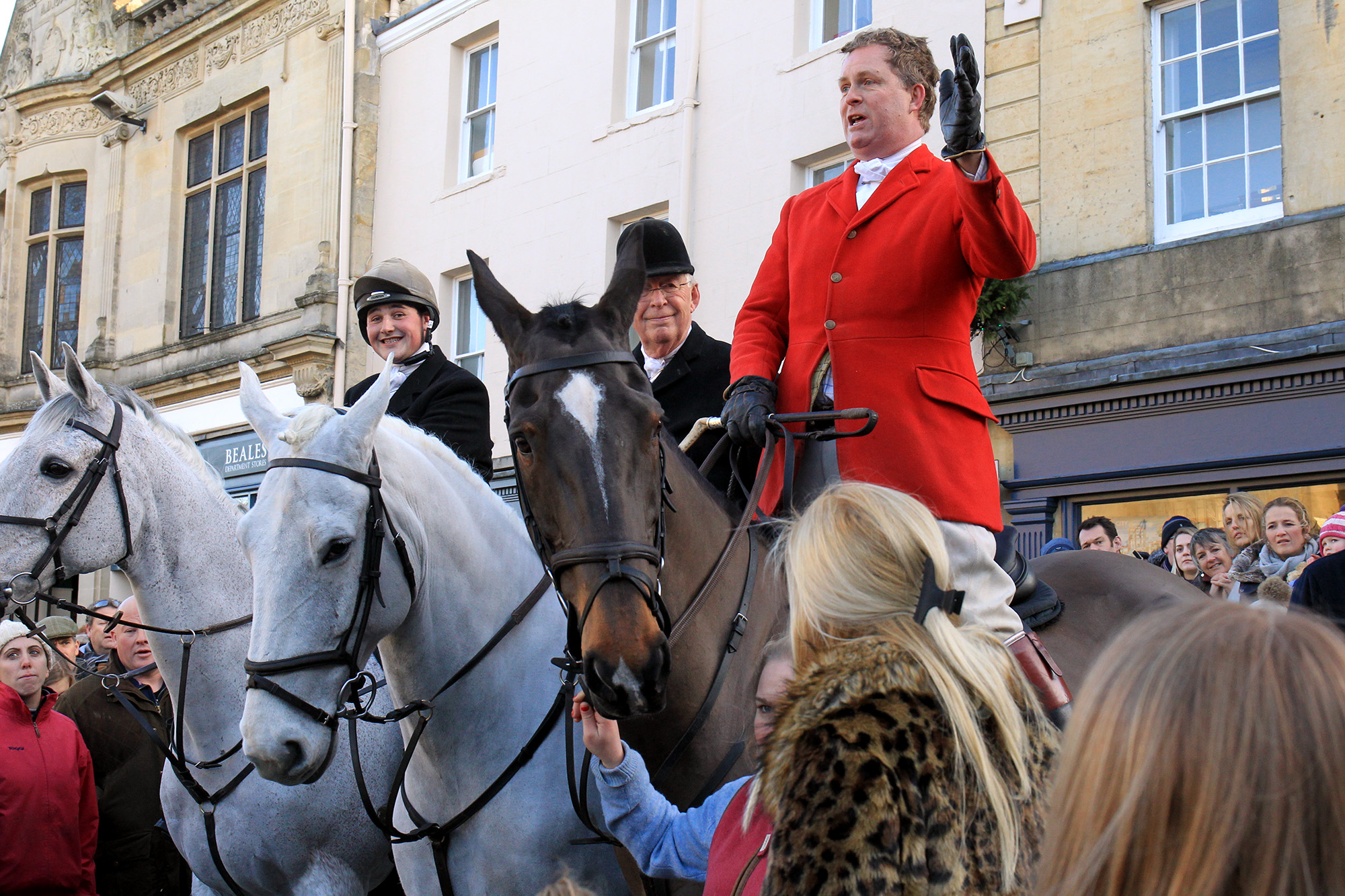Field Master Dom White speaks to the crowd at Heythrop Hunt in Chipping Norton on Boxing Day. Picture Ric Mellis