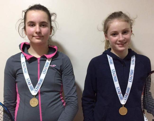 VICTORIOUS: Diana Mascenikova (left) and Chloe Elliott with their gold medals after tournament wins in Southampton