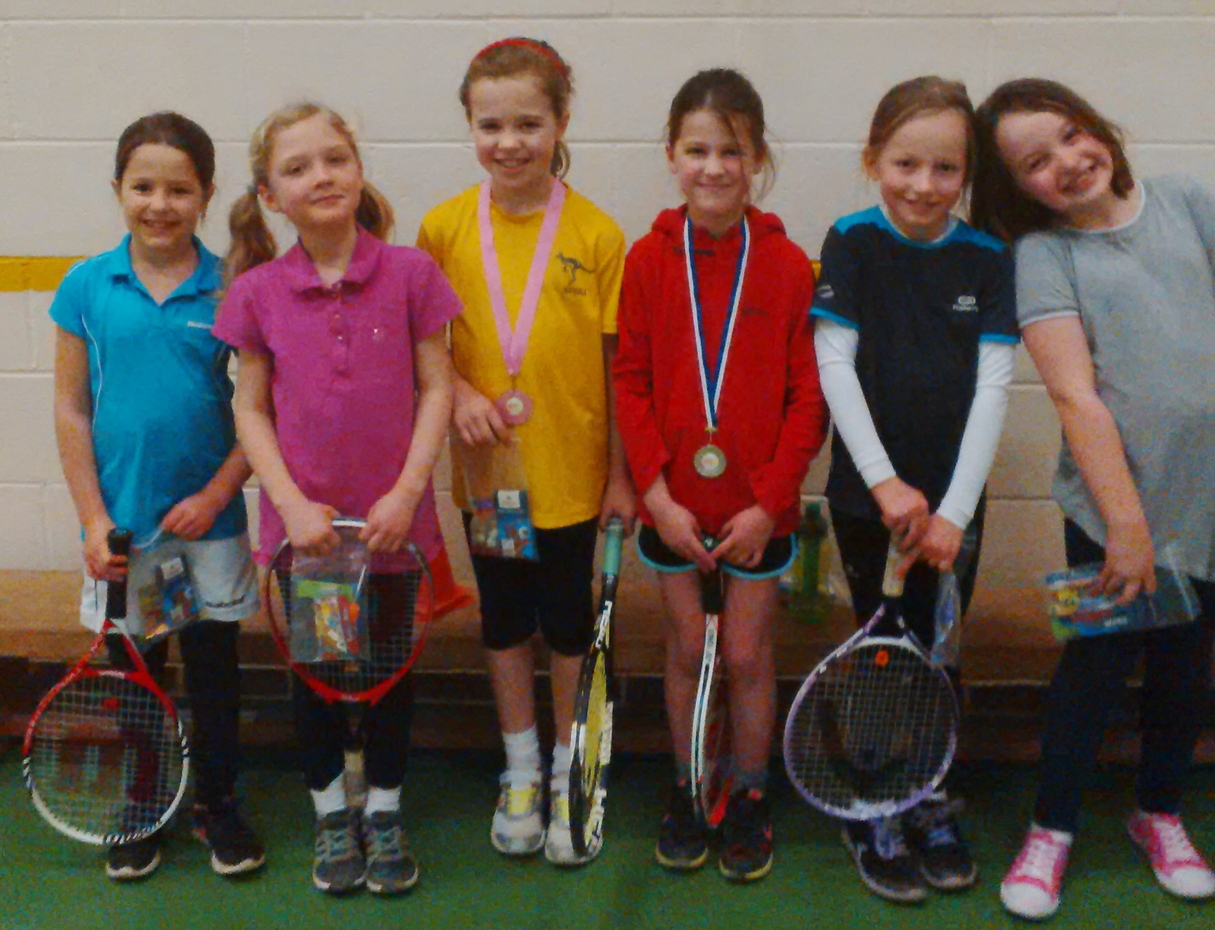 Girls entrants at Faringdon (from left): Sophie Cobbold,  Sophie Hale, Ella Ramsay (silver), Maya Lynchsmith (gold), Georgina Sharff, Georgia Wright