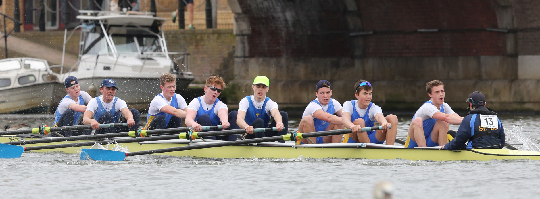 St Edward's head for victory at Kingston (from left): Valentin Peiker, Pasha Tinkov, George Hayter, James Schofield, Aleks Elezovic, Ben Sthamer, Nicola dei Rossi, Campbell Nelson, Sam Shuker  Picture: Iain Weir