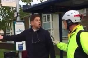 A still from a video sent to the Oxford Mail on April 26, 2017, appearing to show an Oxford Bus Company driver who has left his vehicle on the Botley Road to argue with a cyclist.