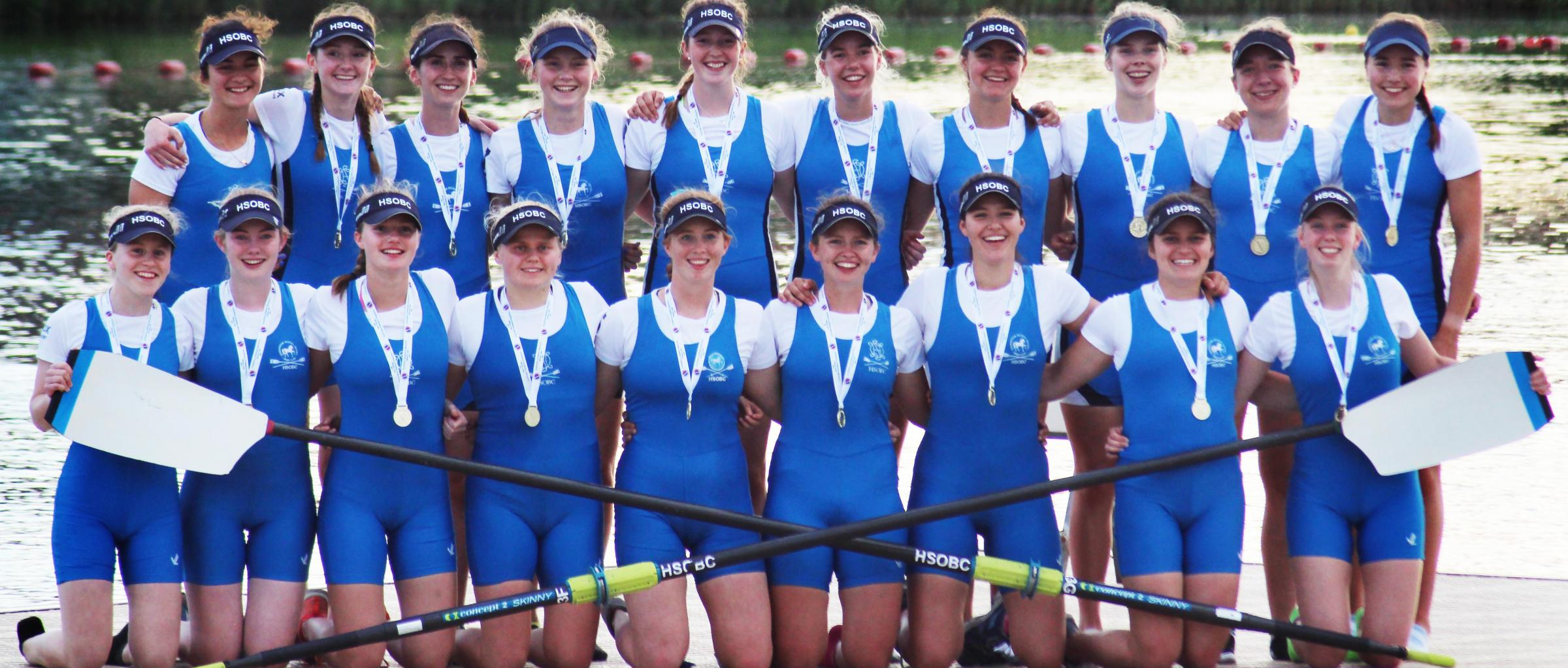 Headington School's champion crews. 1st VIII (back from left): Mattea Wuethrich (single sculler), Annelise Perkins, Danielle Semple, Frances Curtis, Isabel Rundle, India Mattocks, Lucy Pullinger, Rosanna Little, Elizabeth Haskins, Katie King-Smith. 2nd
