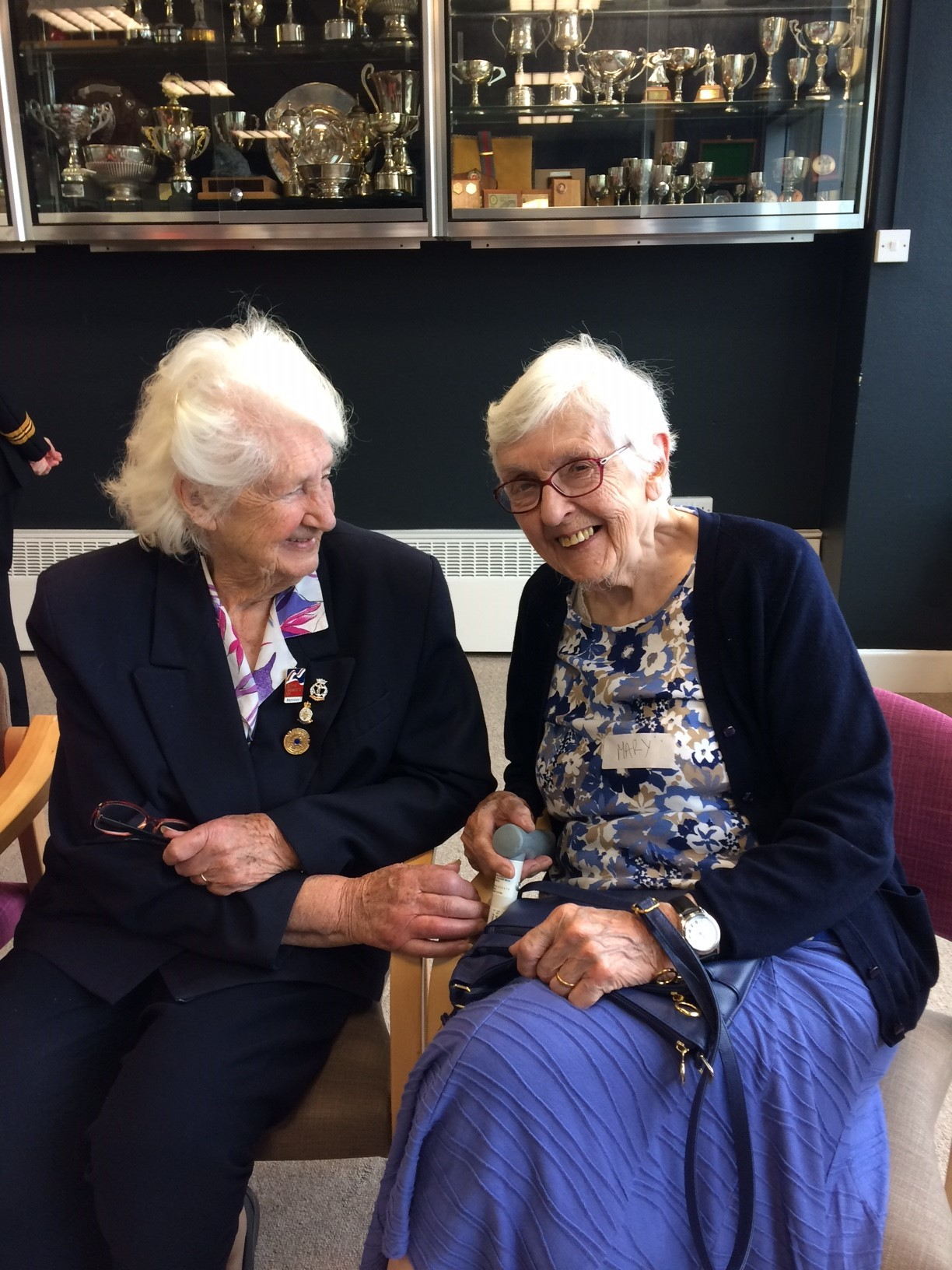 Lorna Cockayne, left, and Mary Turton at the Blind Veterans UK centre in Brighton. Picture supplied by Blind Veterans UK