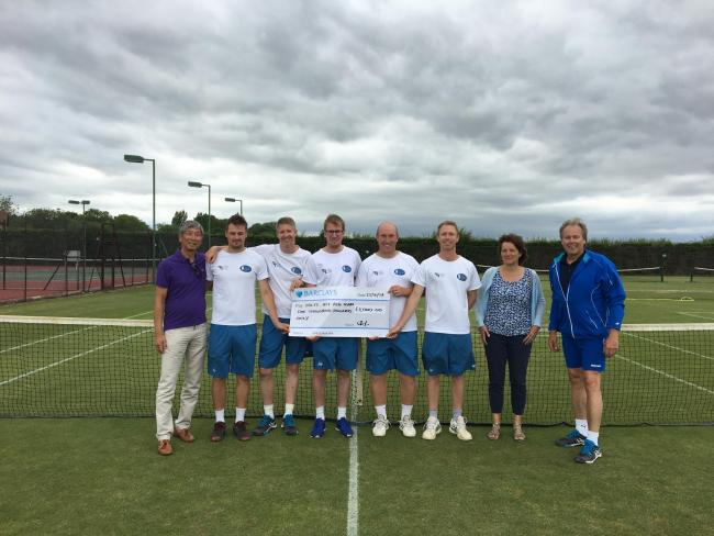 PROMOTION JOY: North Oxford celebrate going up to the National League. From left: Cheng Yoe (sponsor), Ben Calnan, Jeff Hunter, Jack Rooney (capt), Jon Maskens, Joe Cartledge, Sarah Lacey (club chair) and John Brewster (vice-chair)