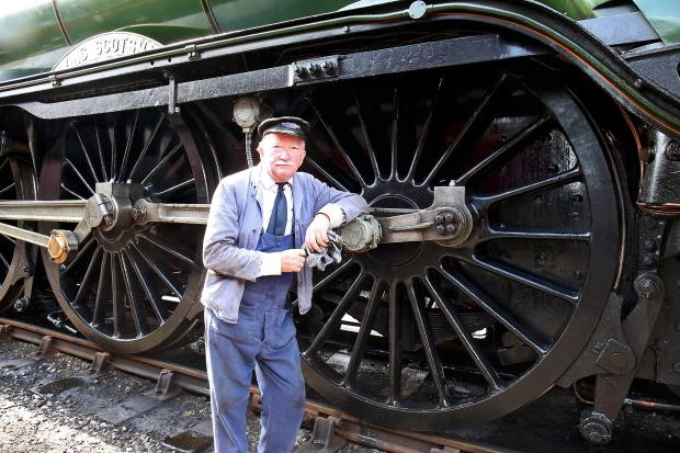 The Oxford Times: Grahame Dryden a volunteer at Didcot, was on the footplate as The Flying Scotsman arrived. Picture: Ric Mellis