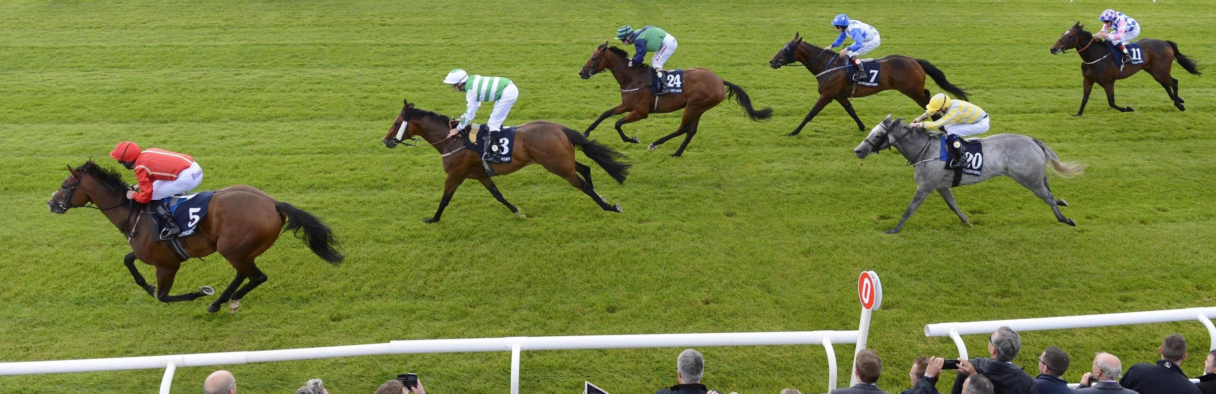 OUT IN FRONT: Ice Age wins the Irish Stallion Farms EBF Bold Lad Sprint Handicap  Picture: PA Wire