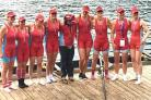 Wallingford's eight celebrate their success at the World Rowing Masters Championships in Slovenia.From left: Karen Walker, Laura Forrest, Alice Brown, Jenny Cameron-Bell, Rachael Haycock, AlisonBoyes, Katie Kapernaros, Julia Wilks and Rachel Edge
