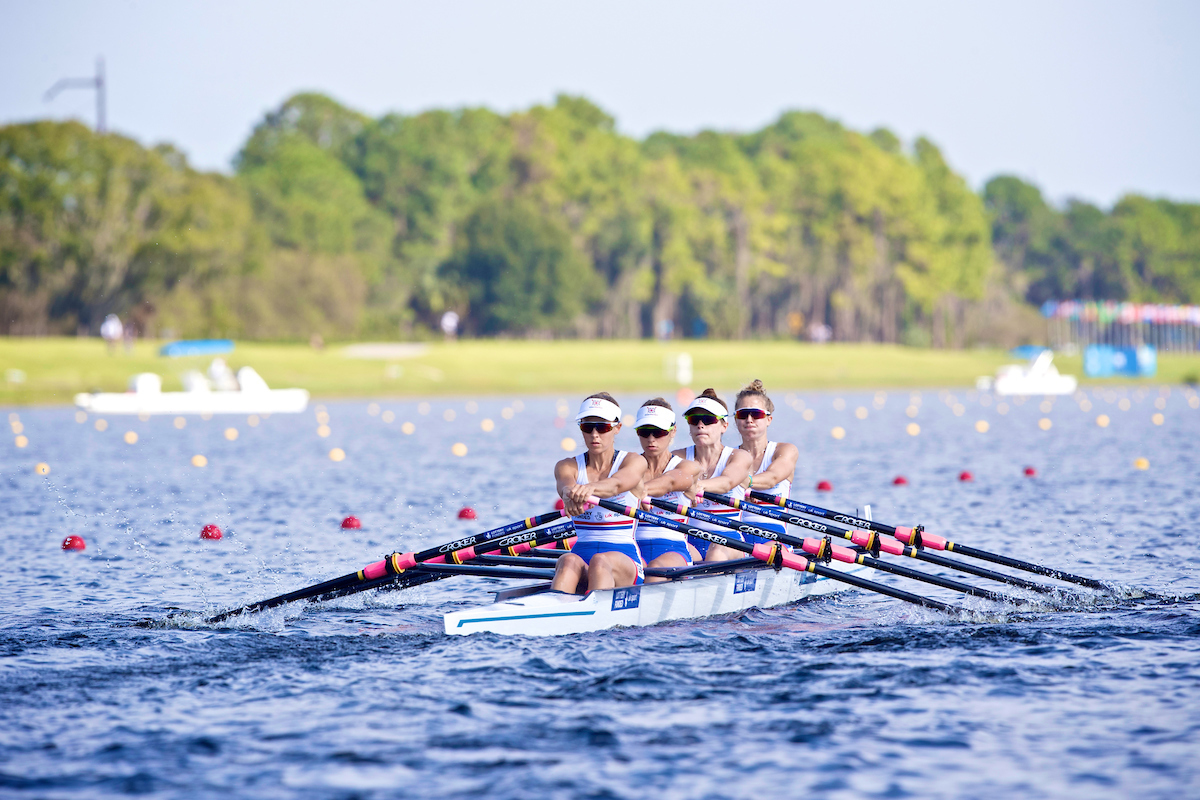 Wallingford's Eleanor Piggott at stroke (left) and Gemma Hall, at bow. in action during the World Championship in Florida Picture: Naomi Baker