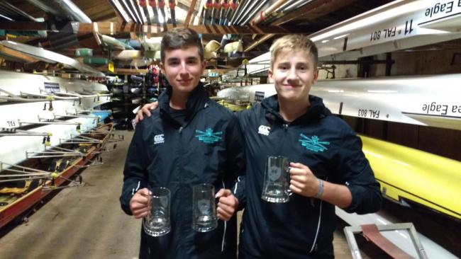 Falcon RC's Seb Siswick (left) and Lorcan Nee back in their boathouse after a successful day at Bedford fours and Small Boats Head