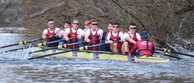 Oxford Brookes University's eight on the way to victory at the Wallingford Head (from left): Ari Cohen, Ben Reeves, Matt Newman, Gareth Syphas, Matt Rowe, Matt Hnatiw, Seb Newman, Henry Blois-Brooke and Gavin Mcwilliams