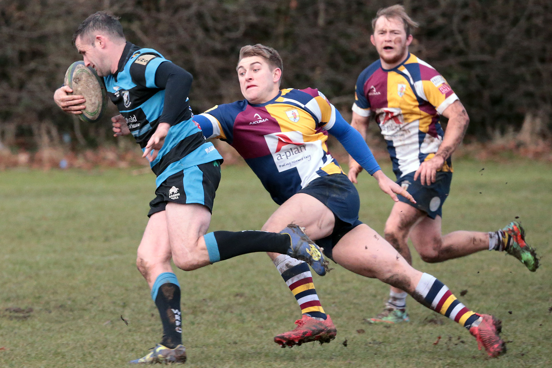 RESPONSIBILITY: James Stacey, pictured tackling Witney's Phil Thomas during Oxford Harlequins' victory last Saturday, has been appointed captain of the South West 1 East club