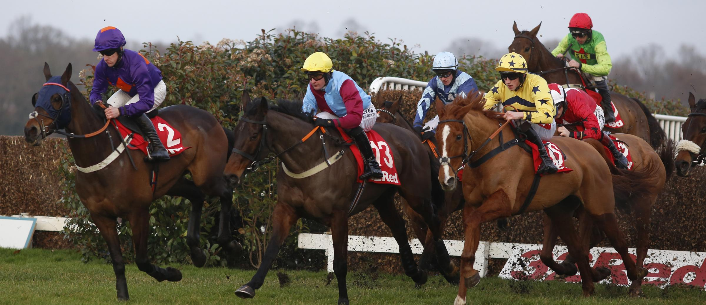 Charlie Longsdon's Pete The Feat (blue cap) is well-paced in the 32Red Veterans' Handicap Steeple Chase at Sandown before Buywise (red cap) came through to beat him into second        Picture: Julian Herbert/PA Wire