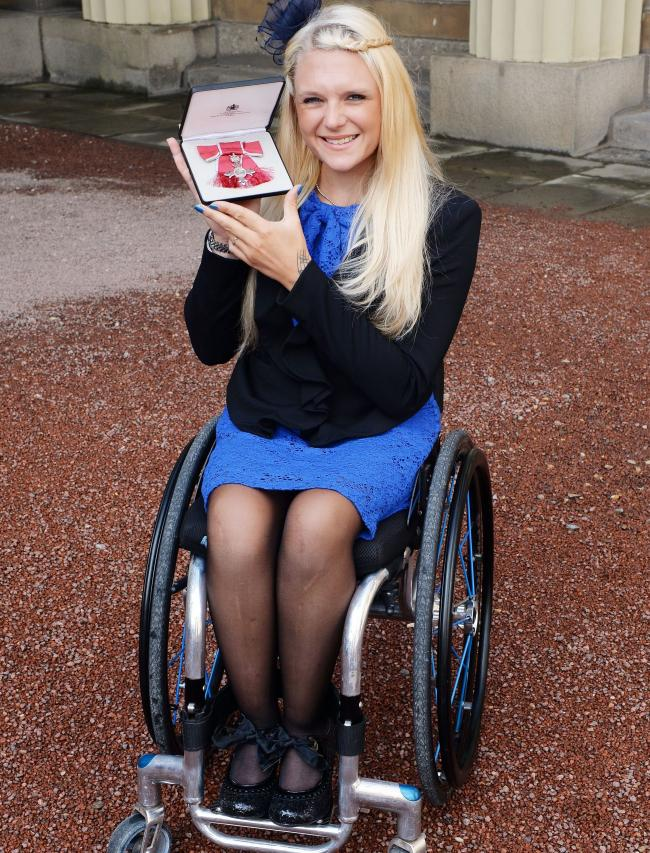 STAR: Jordanne Whiley, pictured holding her MBE in 2015, is targeting a return to the court in November Picture: John Stillwell/PA Wire
