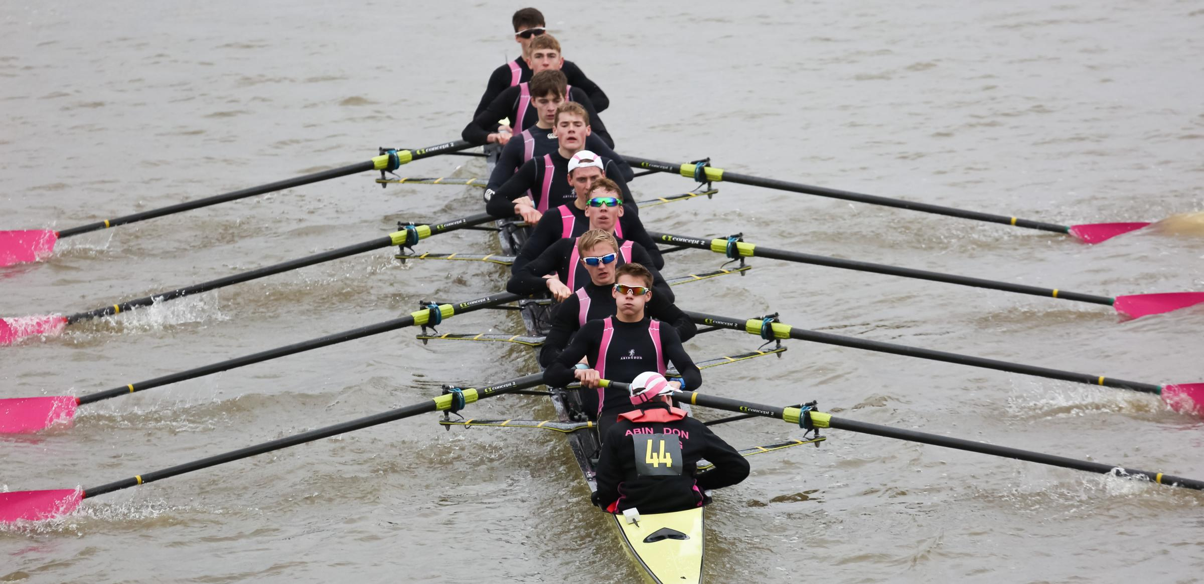 Abingdon School's eight head for second place (from top left): Charlie Hall, Henry Muller, Joseph Nash, Daniel Wilmot, Josh Braithwaite, Ed Fry, Matthew Wiblin, Connor Brown and cox, Joseph Salter Picture: Ben Rodford Photography