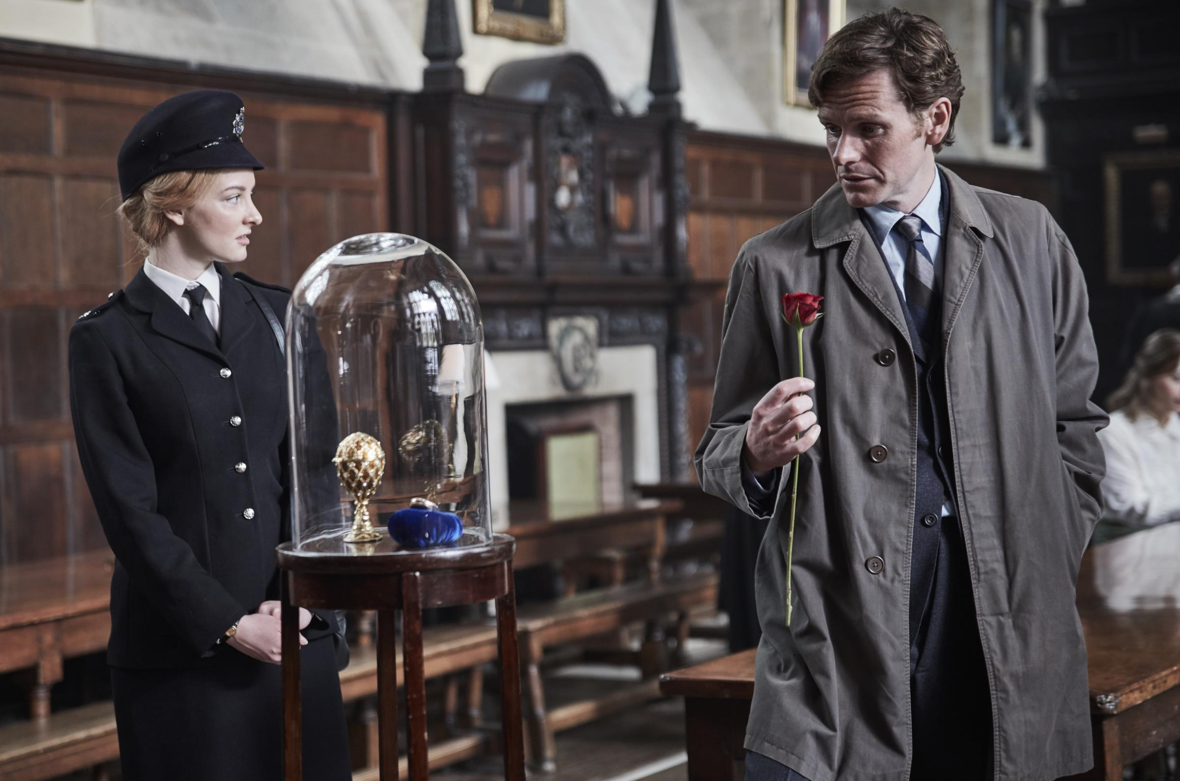 Dakota Blue Richards as WPC Shirley Trewlove and Shaun Evans as Detective Sgt Endeavour Morse in the new series of Endeavour