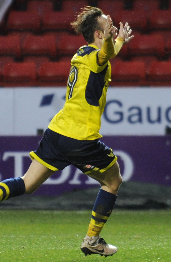 DELIGHT: Debutant Todd Kane celebrates after equalising for Oxford United at the Valley Picture: David Fleming