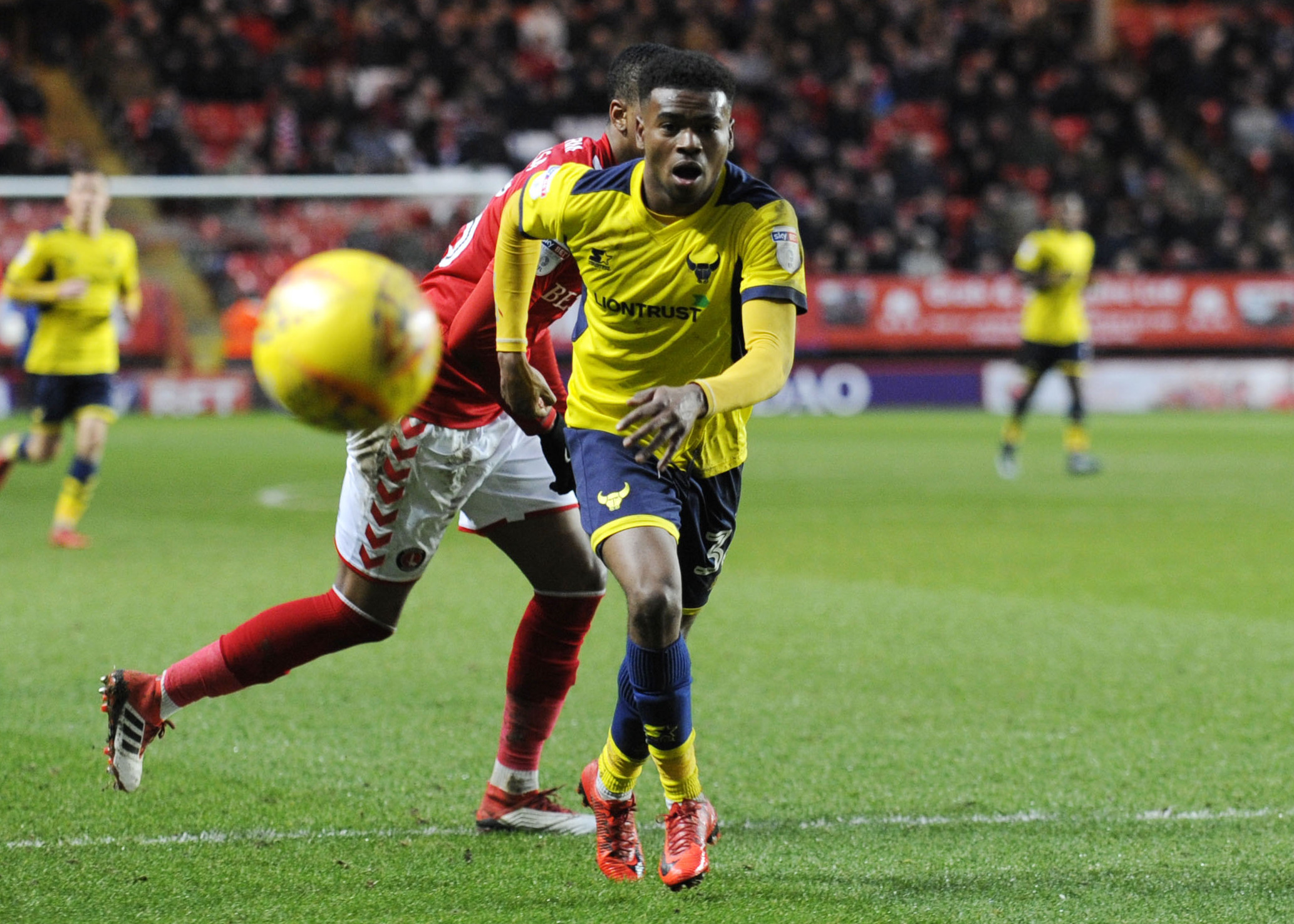 ON THE ATTACK: Malachi Napa chases a loose ball at Charlton last weekPicture: David Fleming