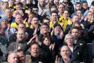 IN THE THICK OF IT: Darryl Eales joins 2,238 Oxford fans at Carlisle