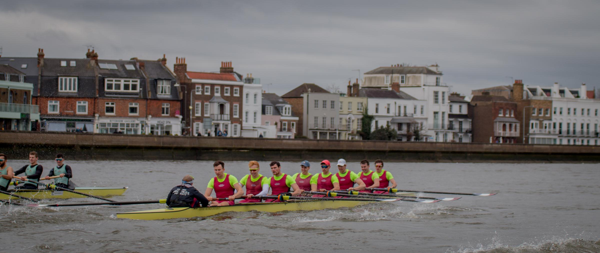 The Oxford Brookes first eight take control against Cambridge University. From left: Harry Brightmore (cox), Morgan Bolding,  Henry Swarbrick, Matt Aldridge, Rory Gibbs, Gareth Syphas, Sam Nunn, Matt Hnatiw, Quentin Antognelli Picture: Lewis Todd (Brookes