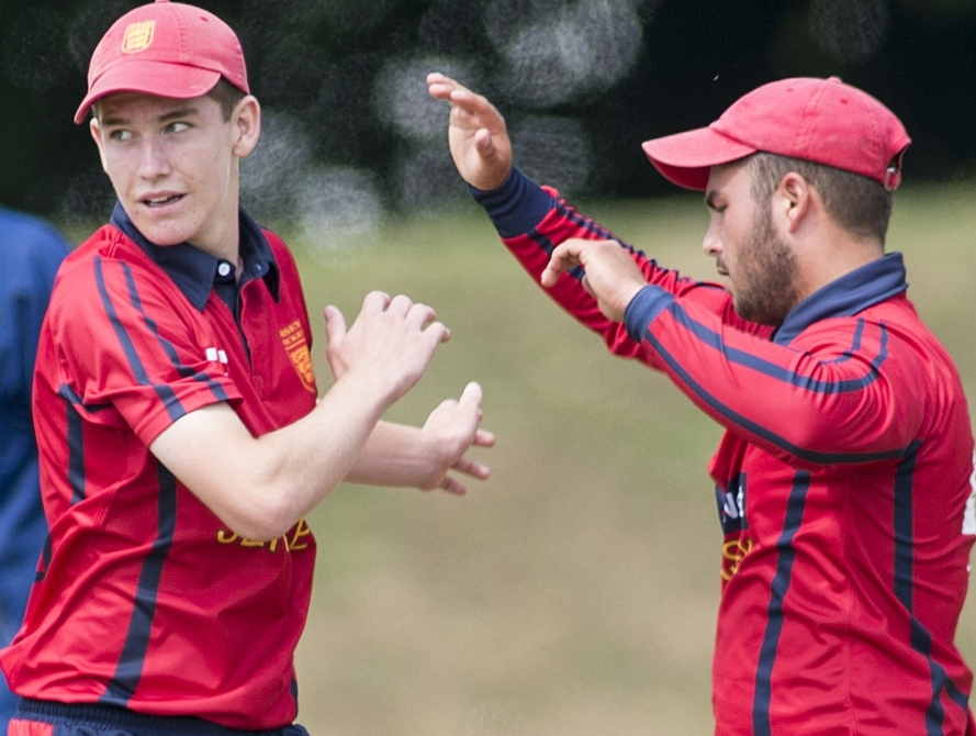 NEW RECRUITS: Will Robertson (left) and Elliot Miles, seen celebrating a wicket, have signed for Horspath Picture: ICC Europe/Ian Jacobs