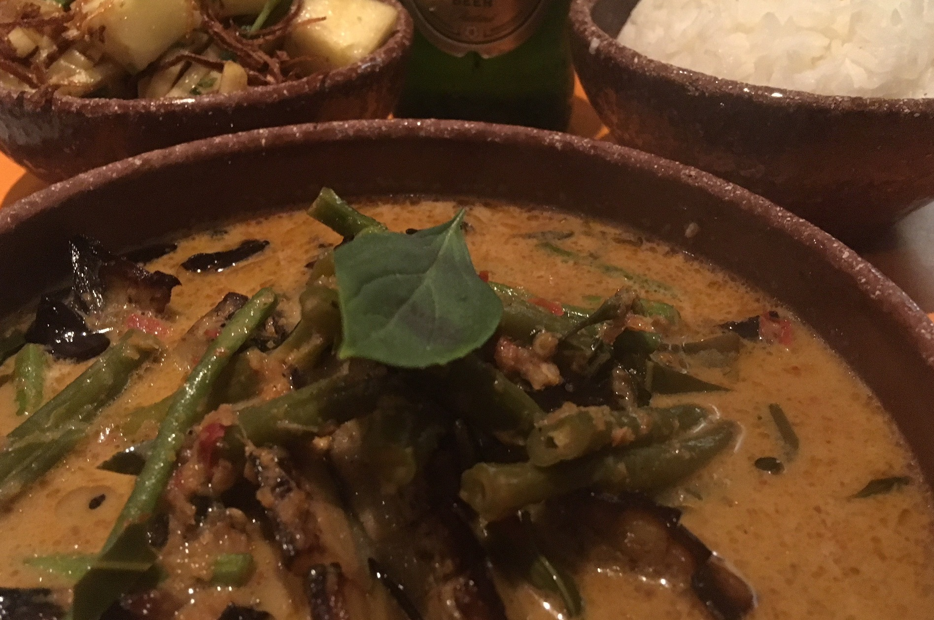 The simply named aubergine curry at Oli's Thai served with an apple salad and rice