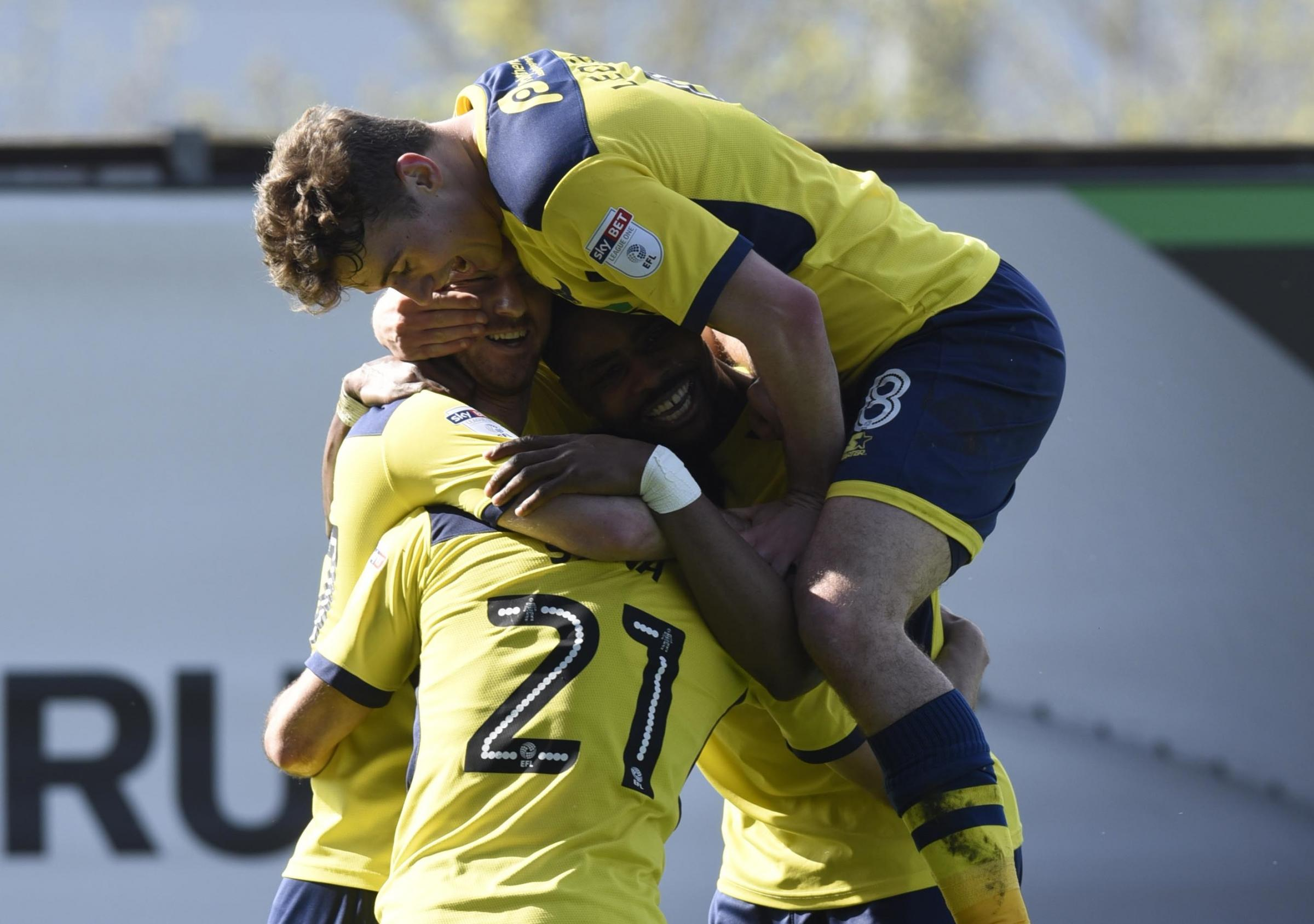 Oxford United players celebrate their second goal Picture: David Fleming