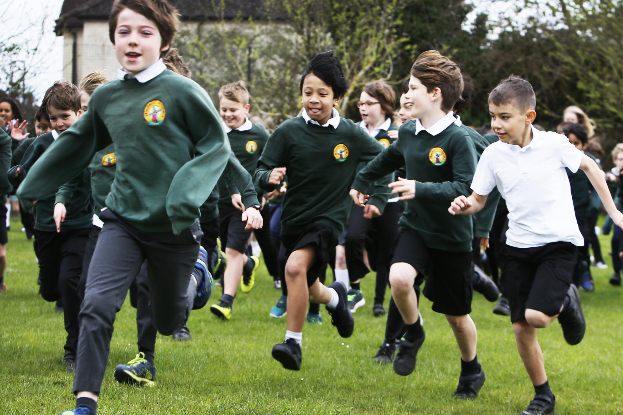 The Windmill Primary School take part in the national ' Daily Mile' where kids are encouraged to run a mile before they start their school day.