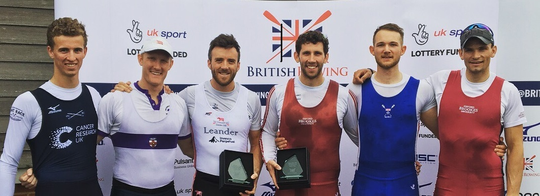 The top three from the men's pairs at the Great Britain trials. From left: Felix Drinkall and OllieCooke (second), winners Alan Sinclair and Matt Tarrant (Oxford Brookes) and third-placed, JamesRudkin and Josh Bugajski (Oxford University) Picture: P