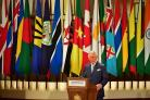 The Prince of Wales speaks during the formal opening of the Commonwealth Heads of Government Meeting (Dominic Lipinski/PA)
