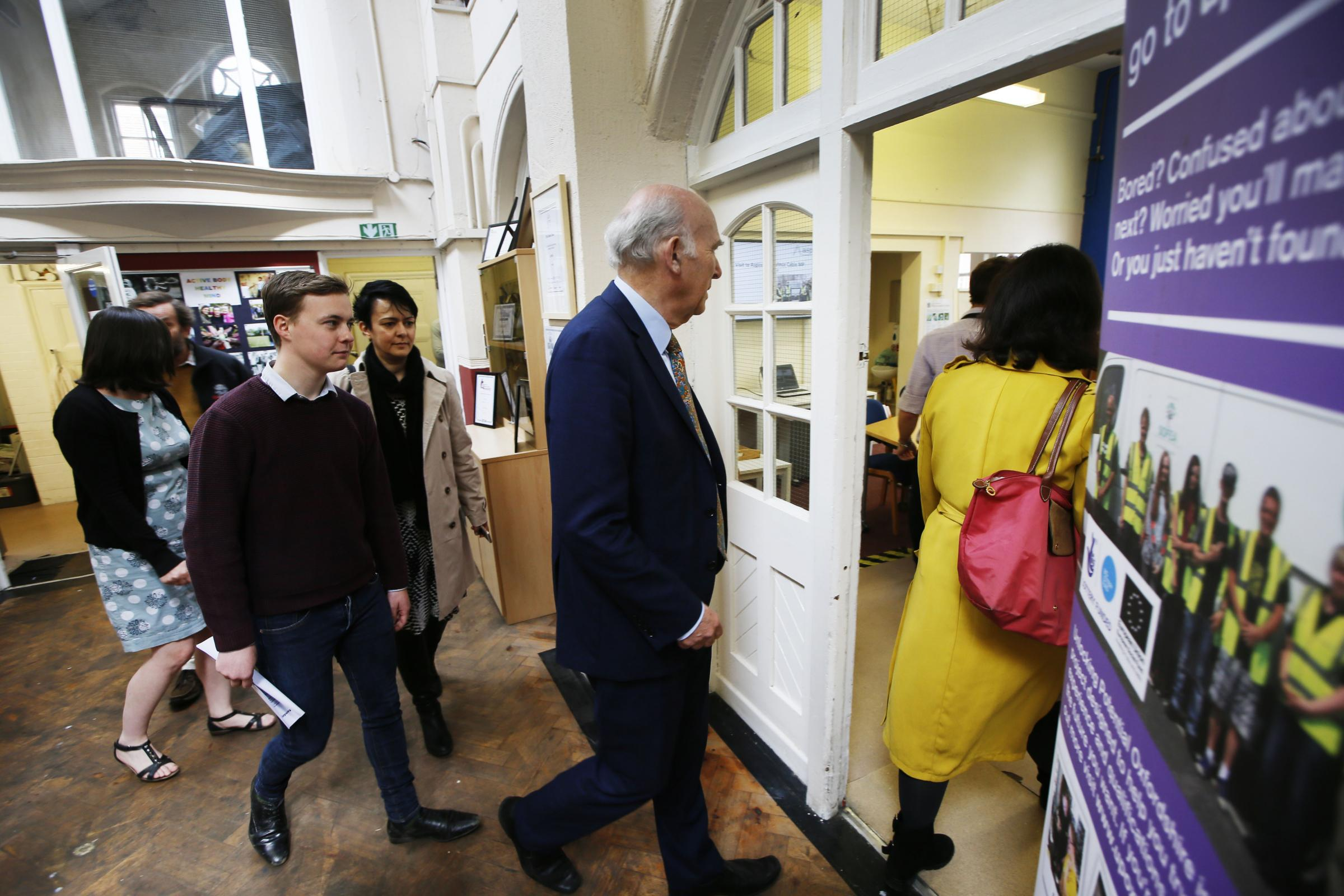 Vince Cable MP, Leader of the Liberal Democrats, and Layla Moran MP visiting Aspire to speak about the work they do, notably the impact that they have on preventing homelessness.23.4.2018Picture by Ed Nix