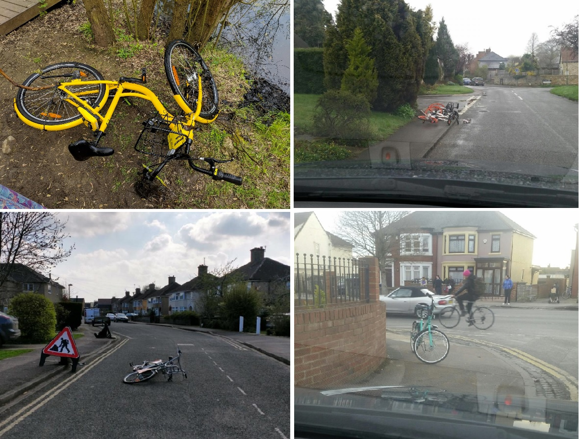 An Ofo bike left near Frenchay Road. Picture: Charles Kirby