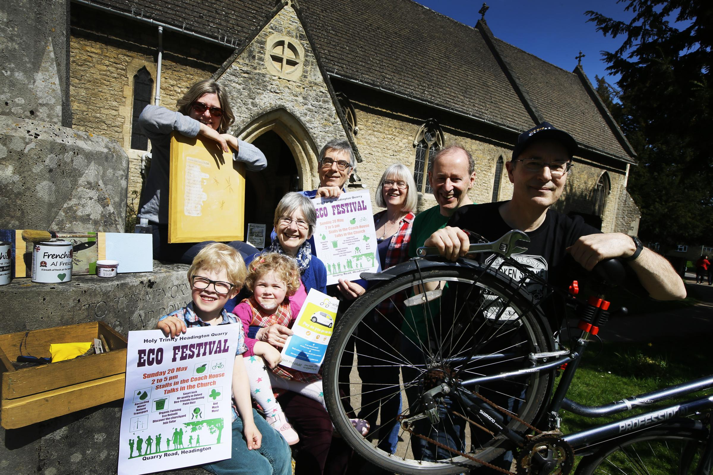 Headington Eco Festival organisers and exhibitors. Left to right, Mary Zacaroli from Paint Buzz, William and Emily Nicolson with Grandmother Hilary Rollin, Karl and Felicity Wallendszus, James Larminie from Sustrans and Jonathan Darby from Broken Spoke bi