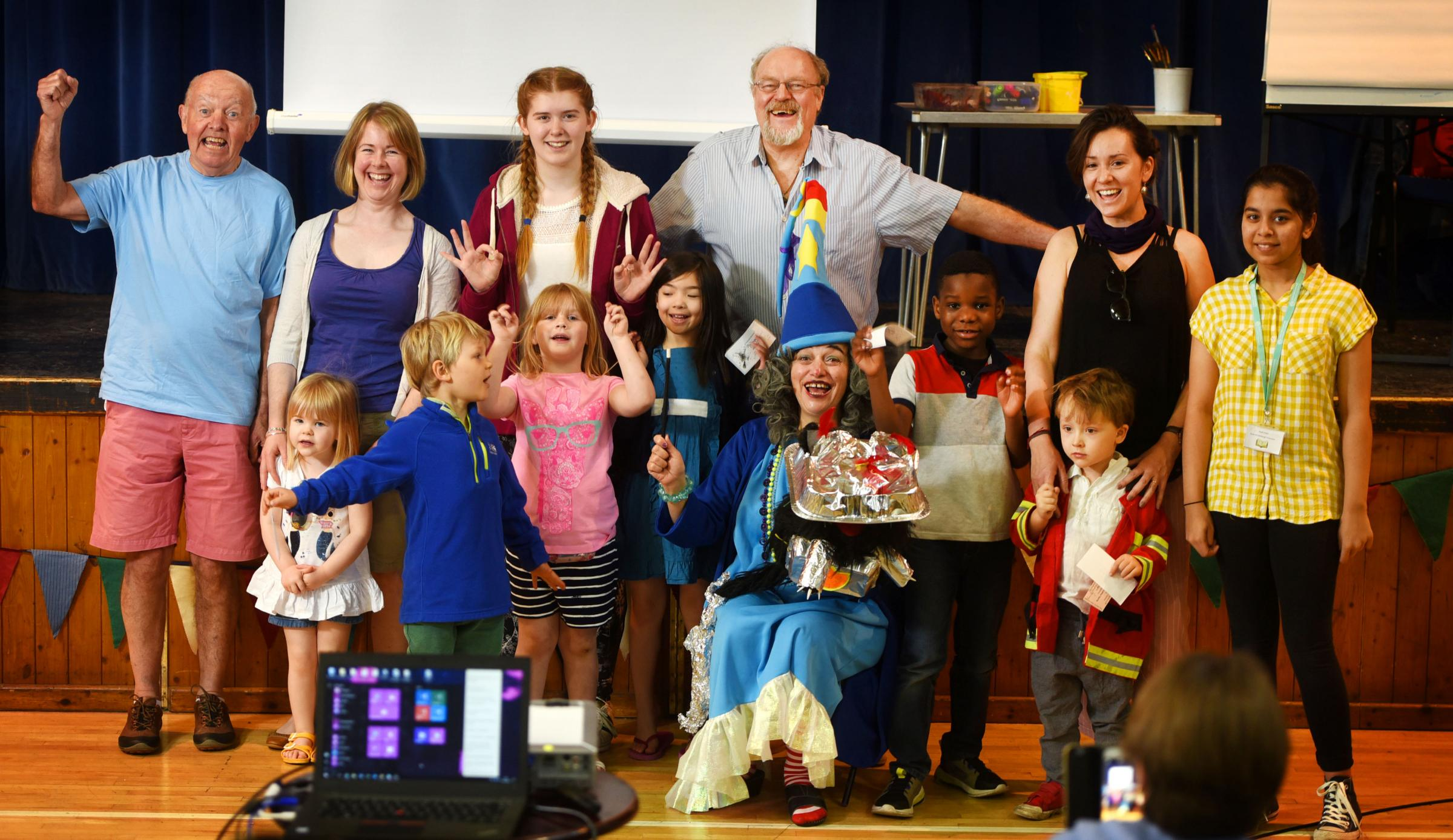 Korky Paul officially opens the 2018 Kennington Festival of Arts.He is pictured with Dominique Henderson (as Winnie the Witch) and a few of the many attendees. Picture: Richard Cave