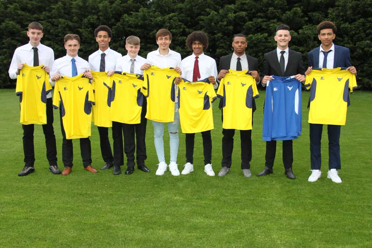 Oxford United's new intake of scholars. From left: Viktor Milton, Harry Sampford, Leon Chambers-Parillon, Jack Stephens, Slavi Spasov, Fabio Lopes, Jordan Edwards, Max Evans, Nico Jones  Picture: Oxford United