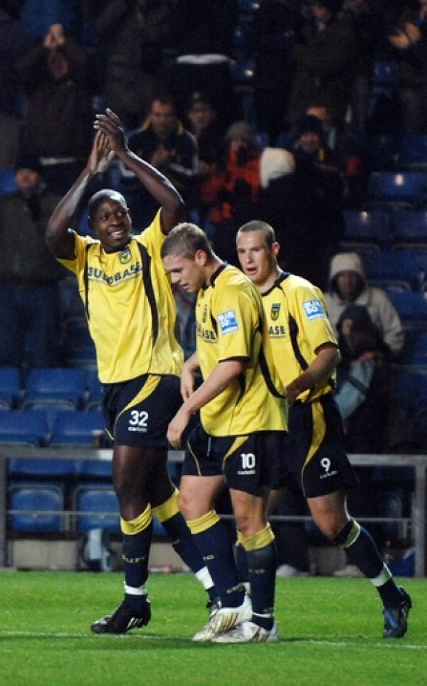 Ricky Sappleton celebrates scoring on his United debut