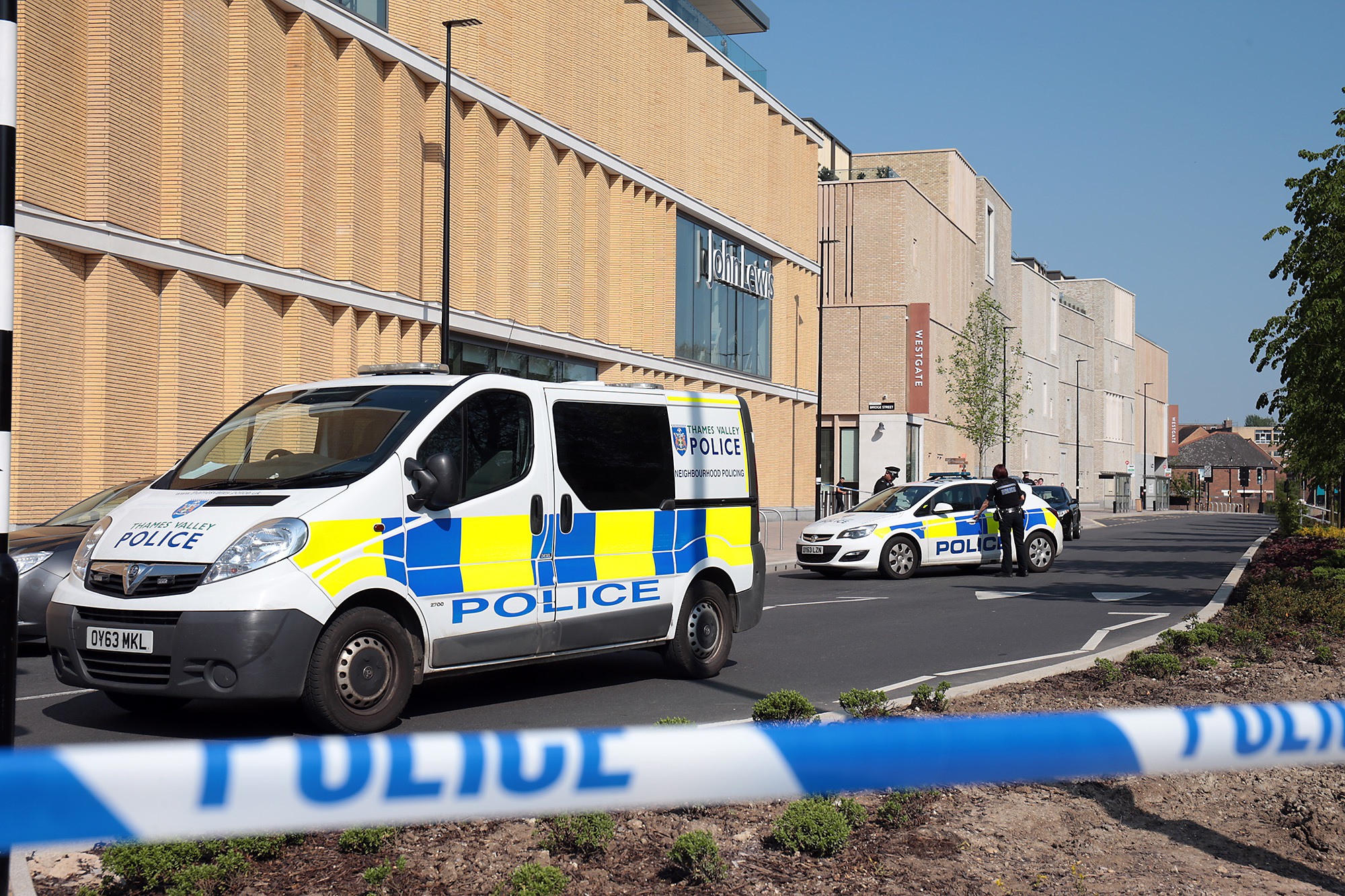 Police outside the Westgate Centre during the siege in nearby Paradise Square on May 7. Picture: Ric Mellis