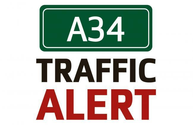 A34 northbound closed due to crash