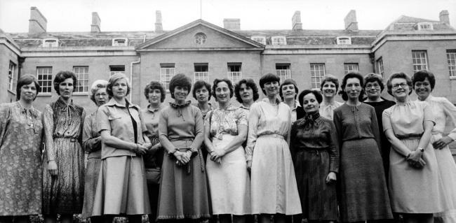 A nurses reunion at the Radcliffe Infirmary, Oxford, in 1981, left to right Joy Miller, Pat Aston, Anne Harold (tutor), Di Smith, Mary Comley, Paddie McDonnell, Ann Brown, Molly Hadley, Julie Bailey, Pru Oswin, Rita Reed, Gaby Nadau, Claire Ryder, Alma C