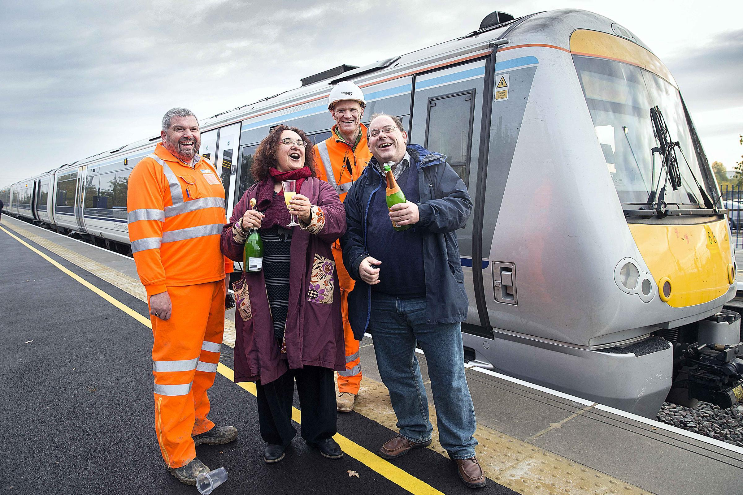 From left, project manager operations Tony Essam, Catharine Arakelian, project manager stations Steve Golla and Andrew Hornsby-Smith celebrate the opening of Oxford Parkway in October 2015