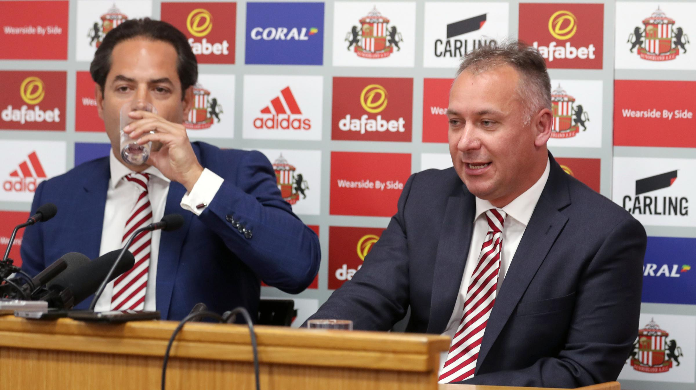 Stewart Donald (right) and Charlie Methven are introduced to the Sunderland media  Picture: Owen Humphreys/PA Wire