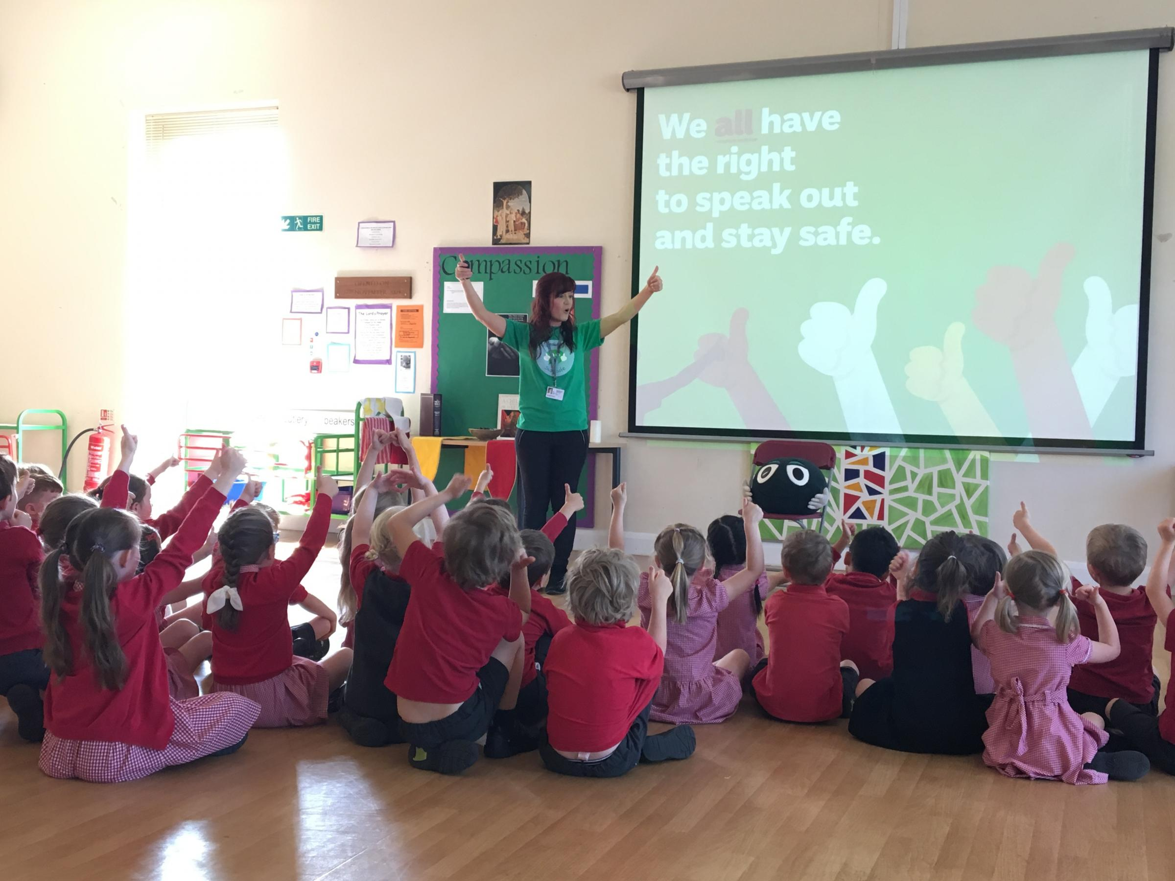 Key Stage 1 pupils at Combe CE Primary School during the NSPCC's assembly, taken by Imogen McCabe